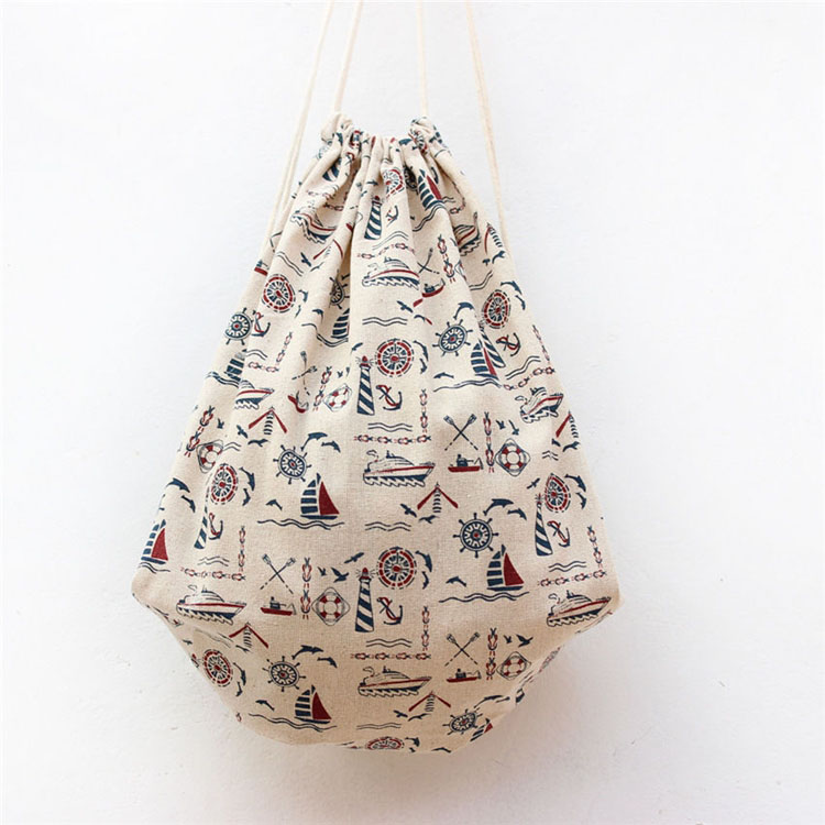 High quality full print canvas  drawstringl bag