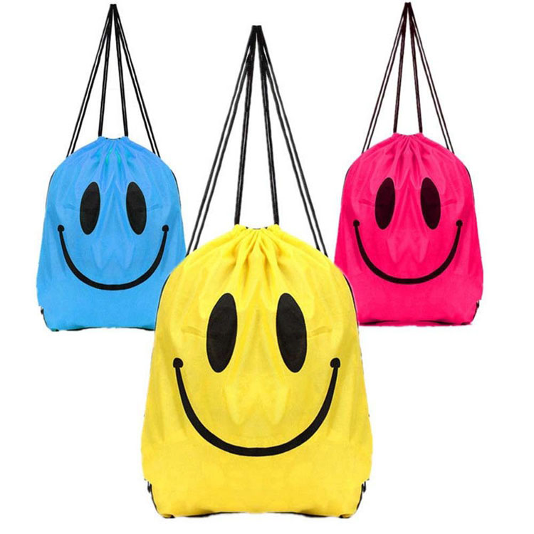 Hot sell promotional emoji print drawstring bag