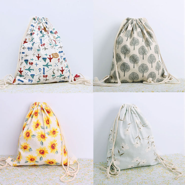 Wholesale new stylish beautiful  print drawstring bag