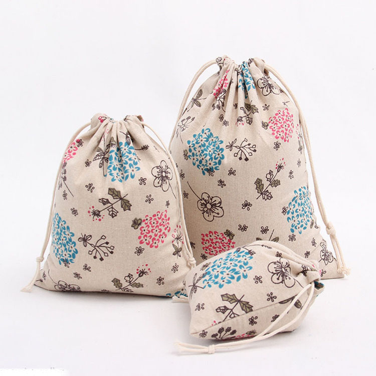 New design hot popular flower print  drawstring bag