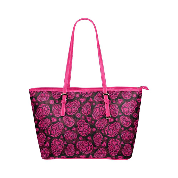 Flower print leather waterproof handbag