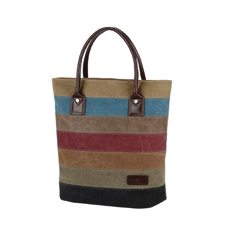 Eco-friendly handbag with colorful stripe