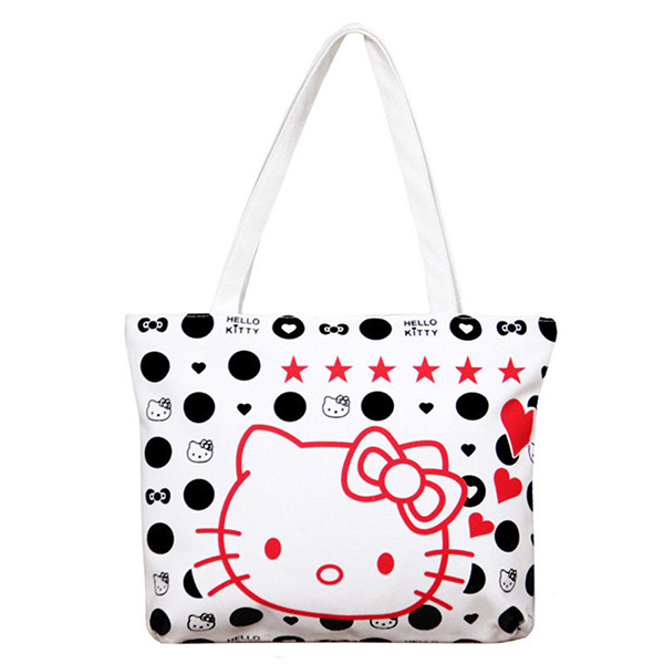 Cute hello kitty print canvas handbag