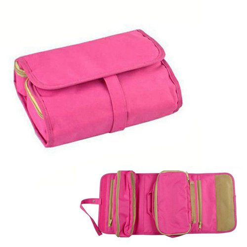 Foldable designer toiletry cosmetic bag